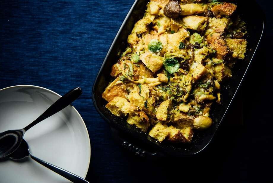 Savory Bread Pudding With Mushrooms and Brussels Sprouts Photo: Nik Sharma