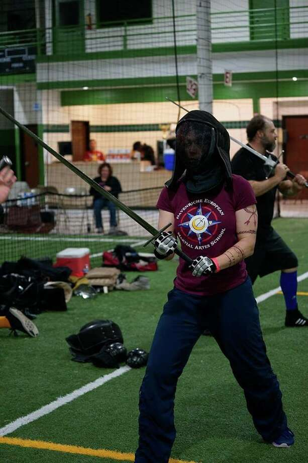 Skye Hilton participates in a sword class. Photo: Courtesy Photo
