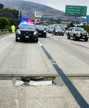 Sinkhole on Highway 101 near SFO causes severe traffic - SFChronicle com