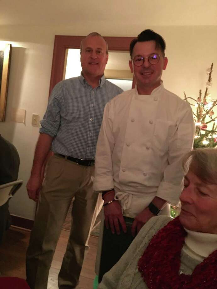 The Clinton Historical Society is holding its annual holiday luncheons and dinners at Old Brick, Dec. 5-6 and 7-8. Above, Chef Eric Ambler and CHS's Rich Manley greet visitors at the 2017 event. Photo: Contributed Photo /
