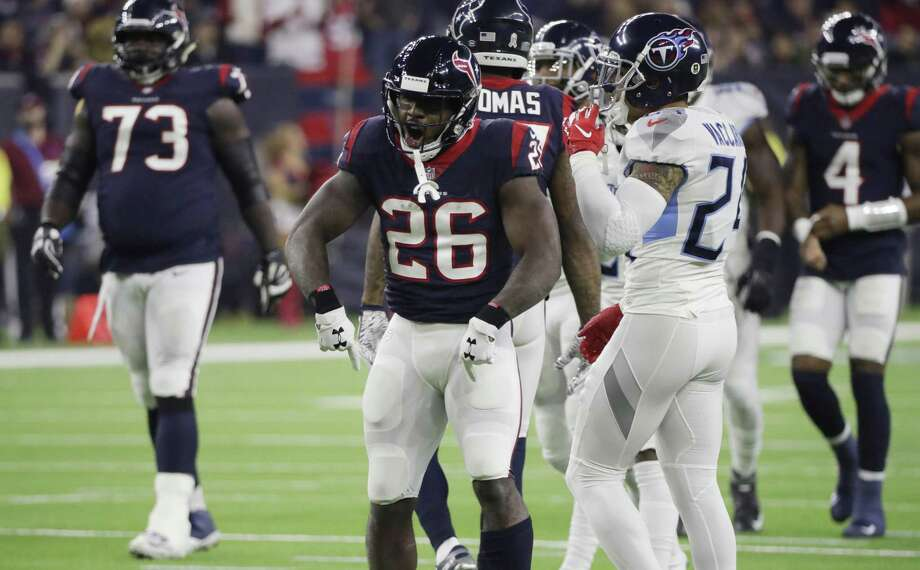Houston Texans running back Lamar Miller (26) during the first half of an NFL football game against the Tennessee Titans, Monday, Nov. 26, 2018, in Houston. (AP Photo/David J. Phillip) Photo: David J. Phillip, STF / Associated Press / Copyright 2018 The Associated Press. All rights reserved.