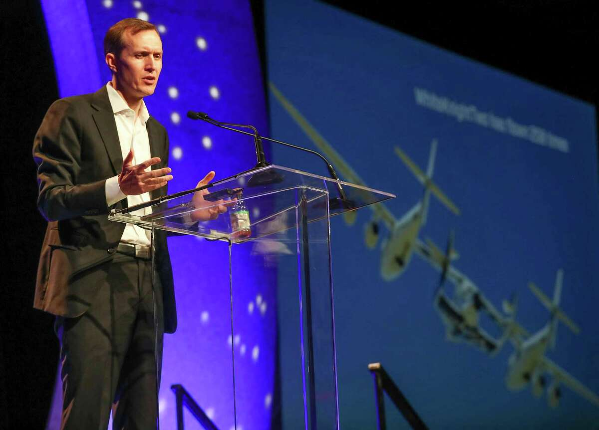 George T. Whitesides, the CEO of Virgin Galactic speaks at the annual SpaceCom (Space Commerce Conference and Exposition) Tuesday, Nov. 27, 2018, in Houston.