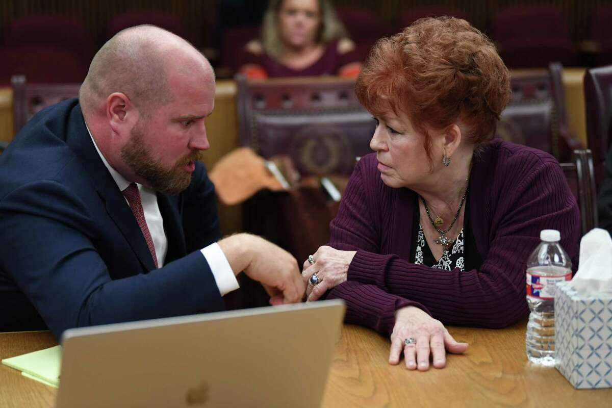 Elizabeth Taylor talks Tuesday to her attorney Ryan Gertz during her trial for the shooting death of Larry Atwood in 2017. Photo taken Tuesday, 11/27/18