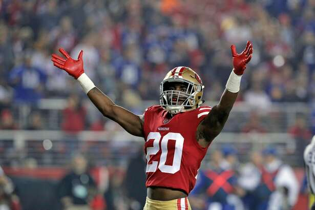 Jimmie Ward (20) reacts after a defensive stop on a run play toward the end zone in the first half as the San Francisco 49ers played the New York Giants at Levi's Stadium in Santa Clara, Calif., on Monday, November 12, 2018.