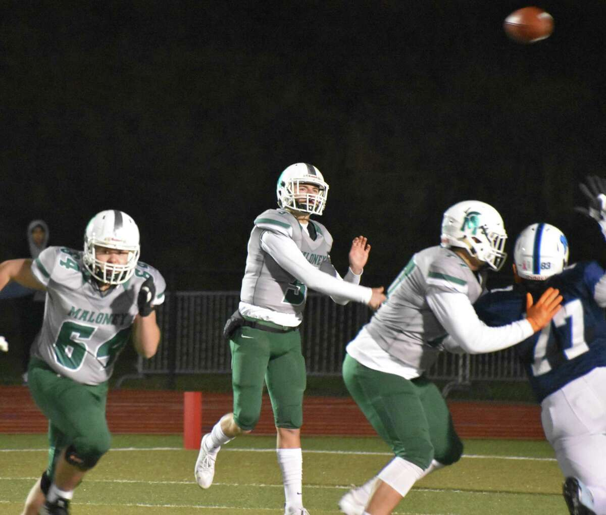 Maloney?'s Elliott Good throws a pass against Middletown in the Class L quarterfinals on Tuesday, November 27, 2018.