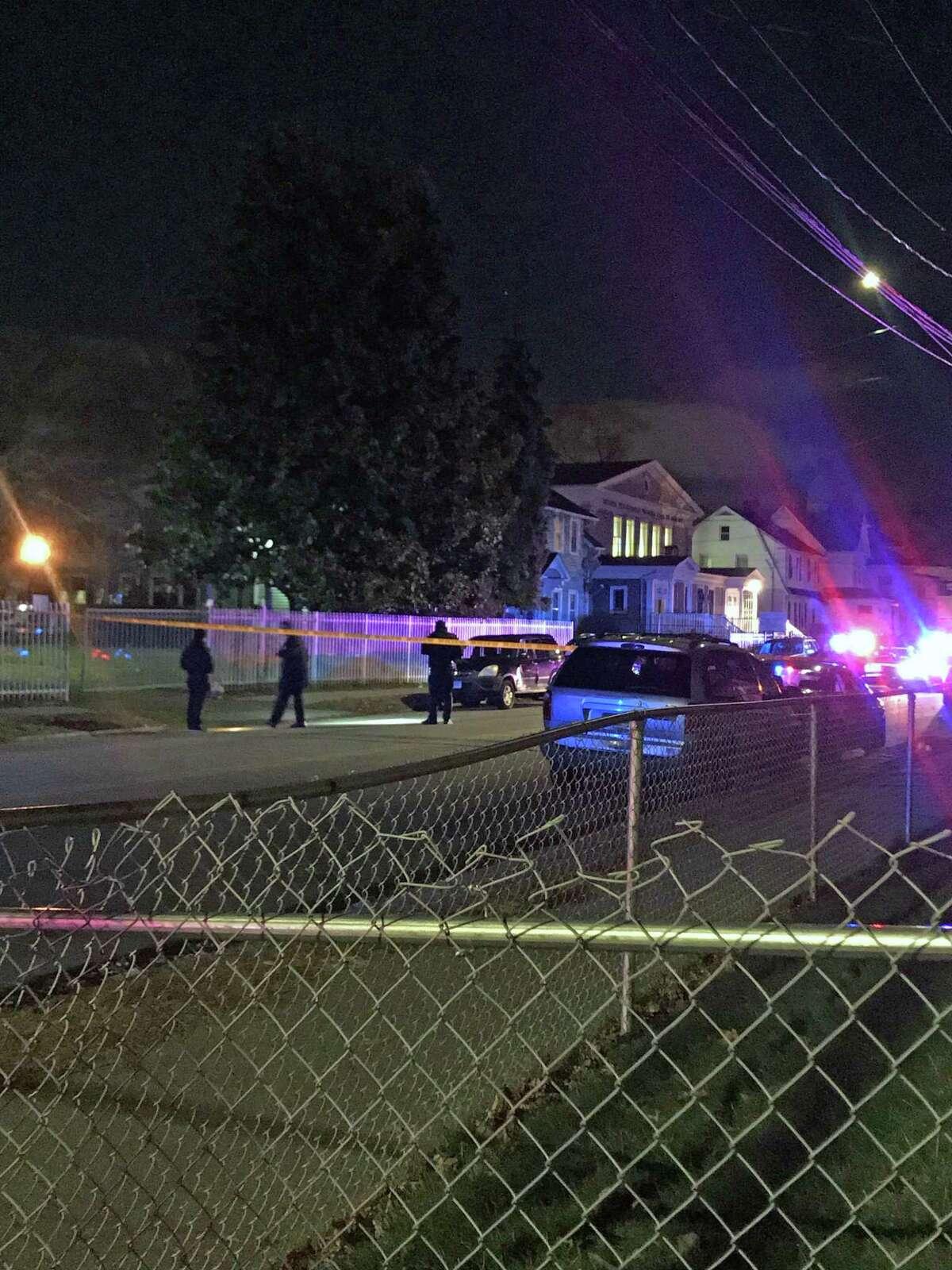 Bridgeport, Conn., police investigate a fatal shooting on Laurel Avenue on Nov. 28, 2018.