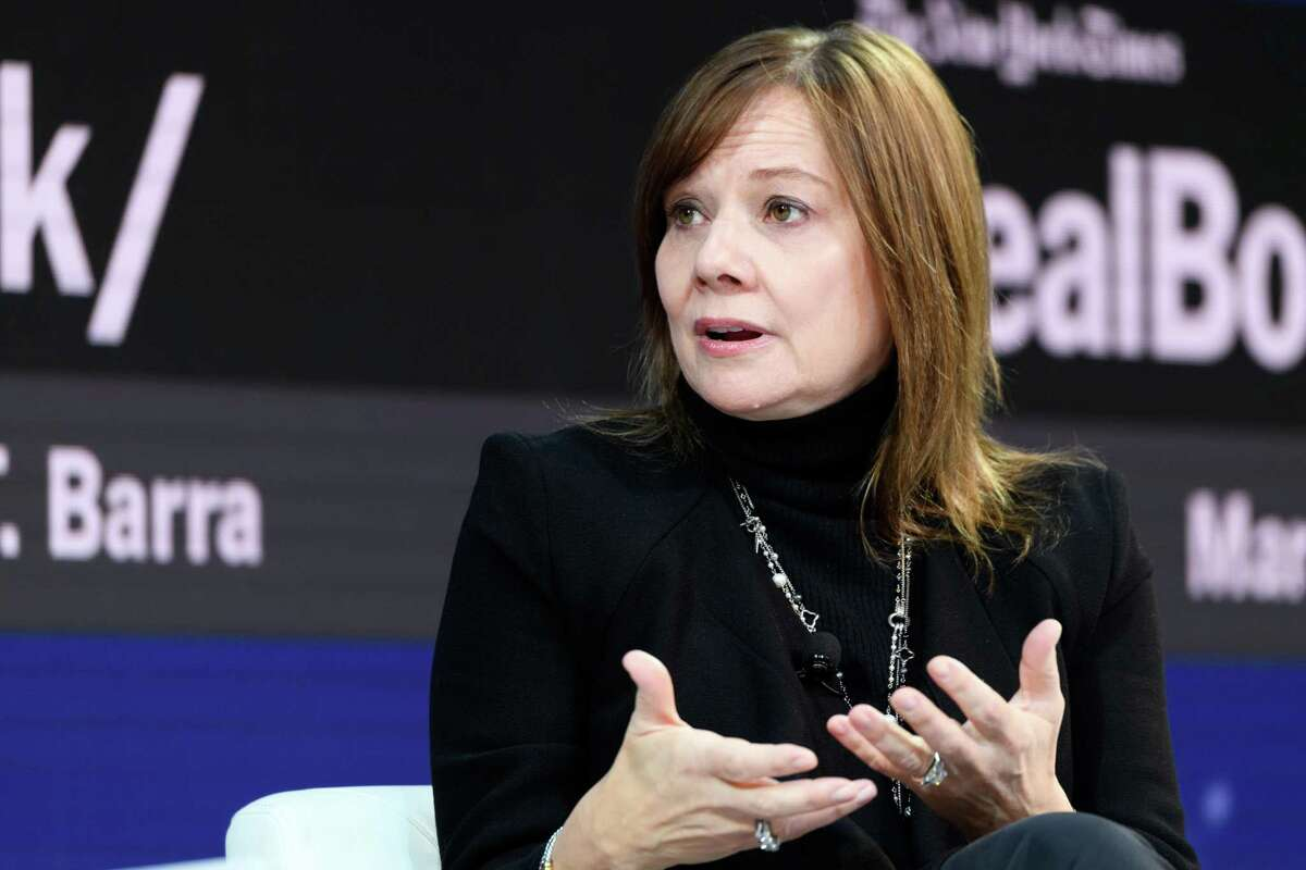 FILE -- Mary Barra, chief executive of General Motors, speaks at a conference in New York on Nov. 1, 2018. GM said Monday, Nov. 26, 2018, that it plans to idle three car plants and two transmission plants in a bid to trim costs as the North American auto sector slows. (Mike Cohen/The New York Times)