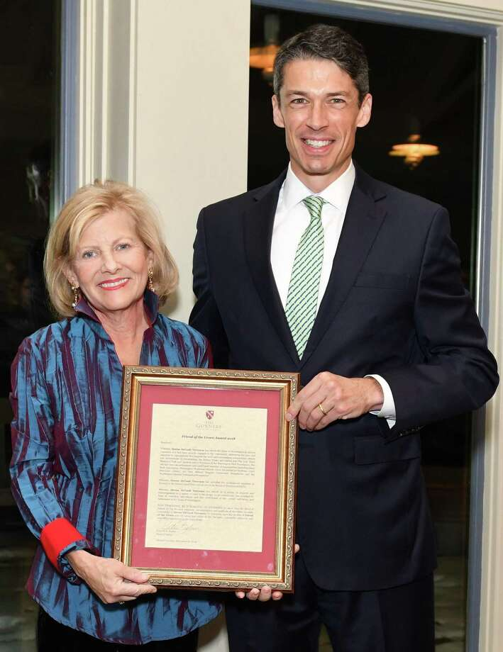 The Gunnery in Washington recently presented its 2018 Friend of the Green Award to Denise DeVault Trevenen. Head of School Peter Becker presents the award to Trevenen during a recent ceremony. Photo: Contributed Photo / Contributed Photo / The News-Times Contributed