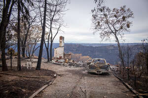 A destroyed home in Paradise, Calif.