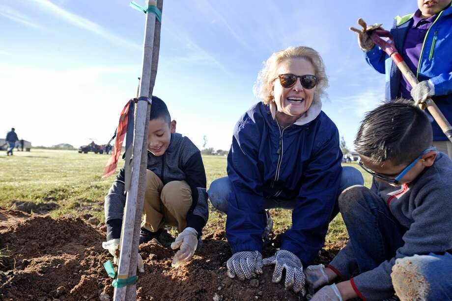 Doreen Womack, executive director of Keep Midland Beautiful, helps at a tree-planting project with Parsley Energy volunteers and Travis Elementary Students on Nov. 2 at Dunagan Park. Photo: James Durbin/Reporter-Telegram