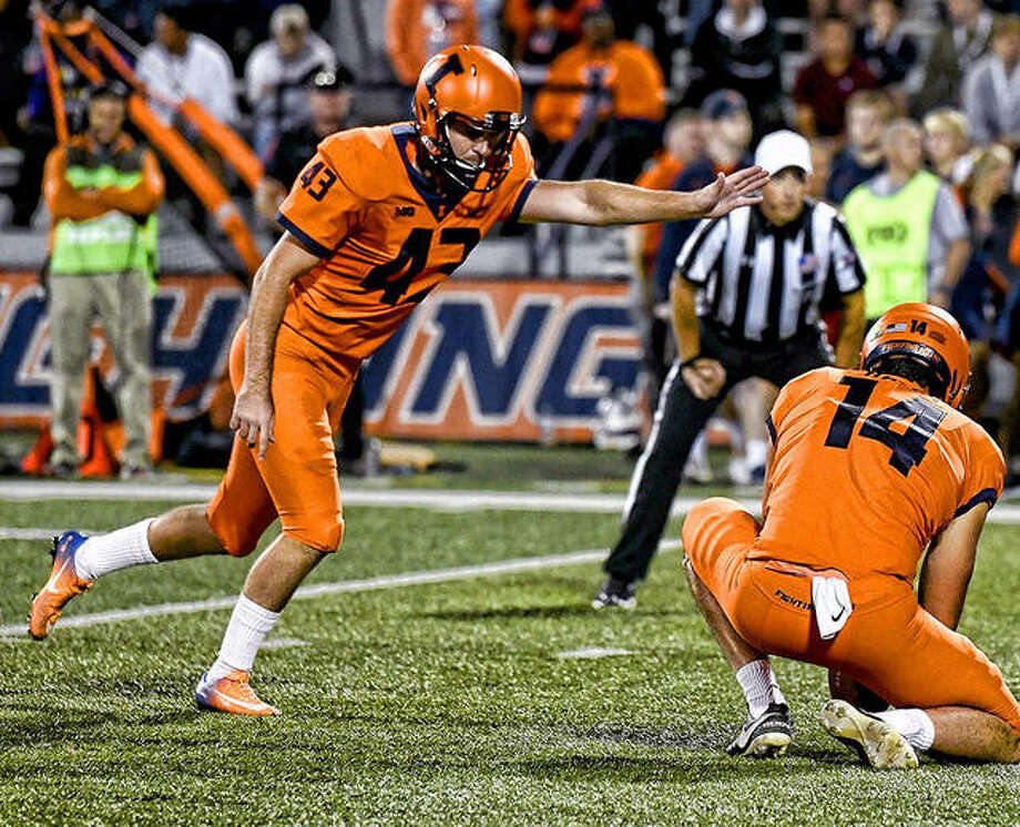 University of Illinois placekicker Chase McLaughlin has been named the Big Ten's Kicker of the Year. He was also voted first-team All-Big Ten by the league's coaches and second-team All-Big Ten by the media. Photo: Illini Athletics