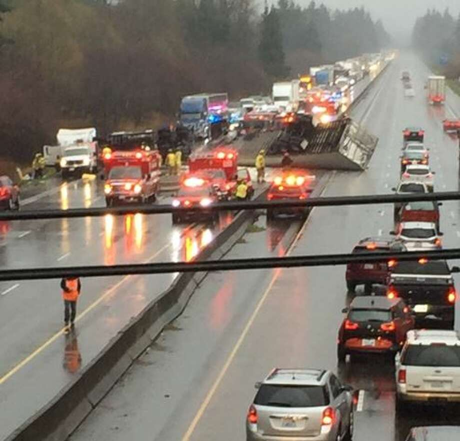 The crash as seen from an overpass. Photo: Courtesy Thurston County Sheriff