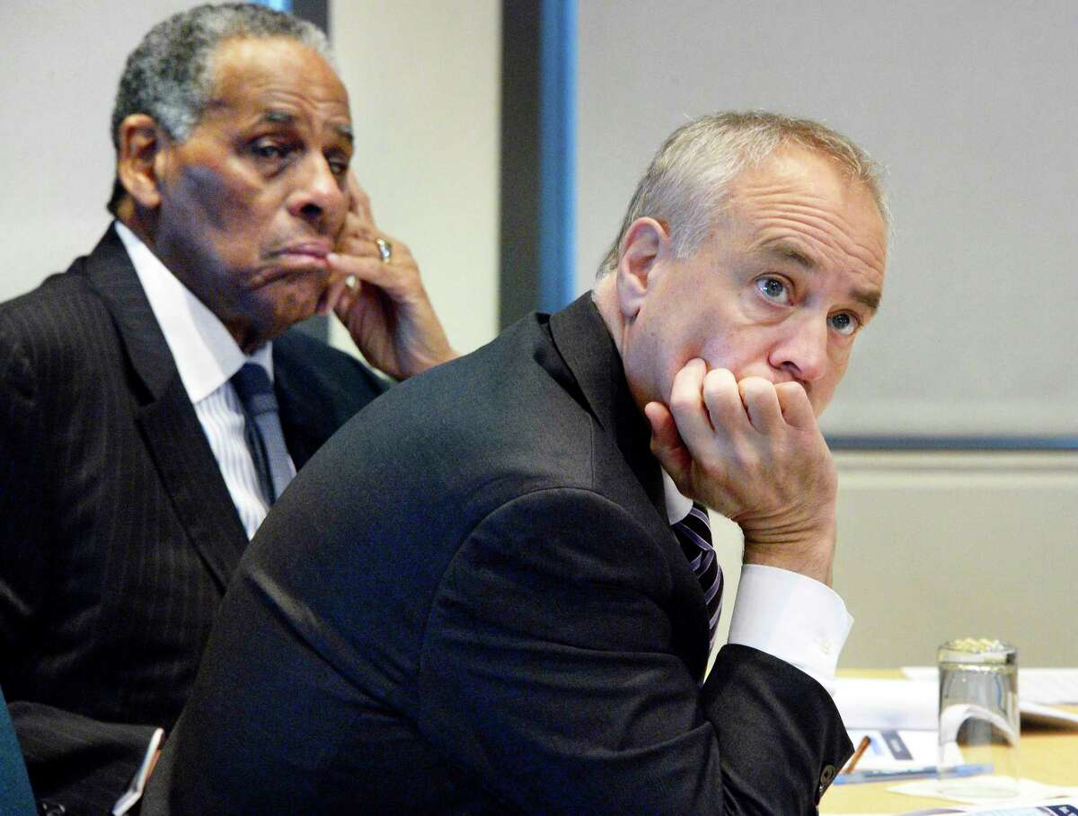 A compensation committee composed of current and former state and city comptrollers met on Friday in New York City for their second and final hearing on salary increases for state lawmakers and appointed officials. The committee met on Wednesday in Albany, with committee members H. Carl McCall, left, and Tom DiNapoli, right. (John Carl D'Annibale/Times Union)