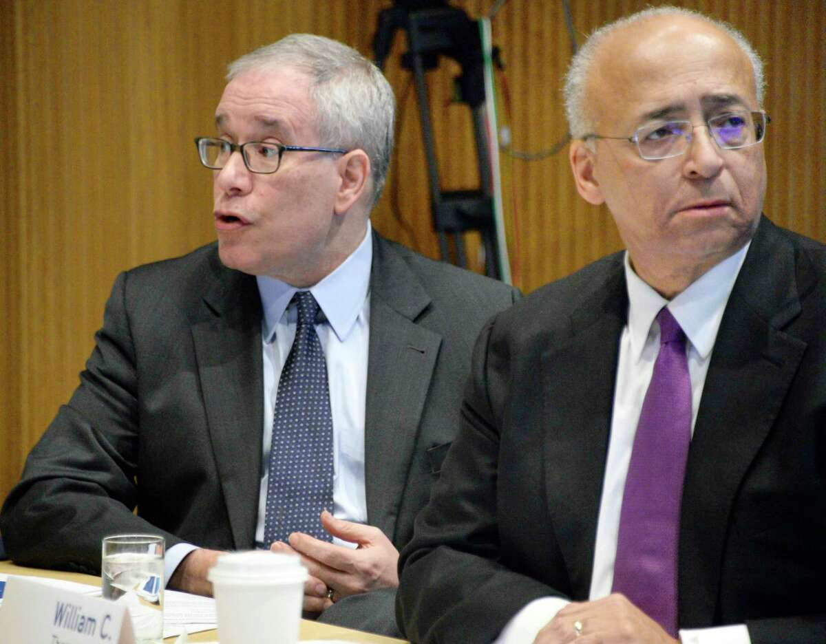 NYS Compensation Committee members Scott Stringer, left, and William Thompson, Jr. during a public hearing Wednesday Nov. 28, 2018 in Albany, NY. The committee is tasked with recommending raises for state legislators and other public officials. (John Carl D'Annibale/Times Union)