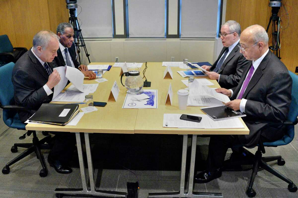 NYS Compensation Committee members, from left, Tom DiNapoli, H. Carl McCall, Scott Stringer and William Thompson, Jr. during a public hearing Wednesday Nov. 28, 2018 in Albany, NY. The committee is tasked with recommending raises for state legislators and other public officials. (John Carl D'Annibale/Times Union)