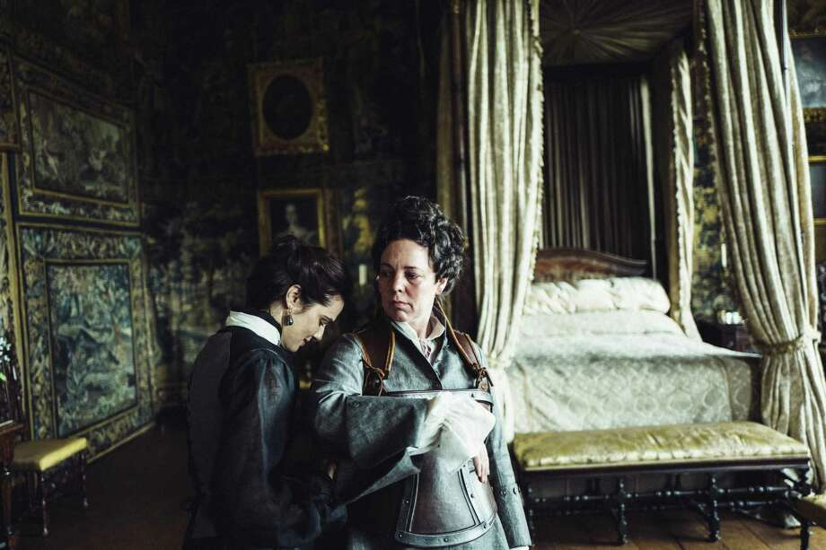 """The Favourite"": Olivia Colman stars as 18th century English Queen Anne, and Rachel Weisz and Emma Stone play competitors to be her best friend. Yargos Lanthimos, who made ""The Lobster,"" directs, so expect weird happenings. (Dec. 14) Photo: Fox Searchlight / © 2018 Twentieth Century Fox Film Corporation All Rights Reserved"