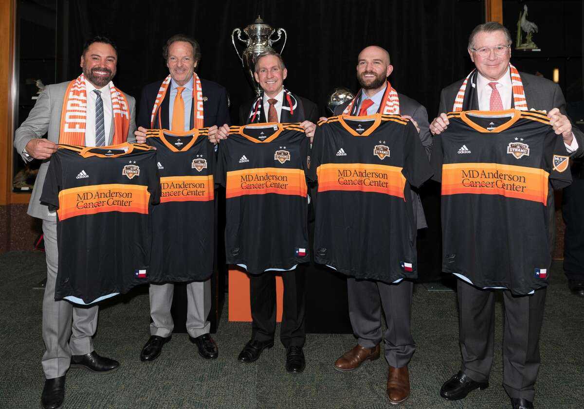 The Houston Dynamo and MD Anderson announced a jersey partnership on Wednesday, Nov. 28, 2018.