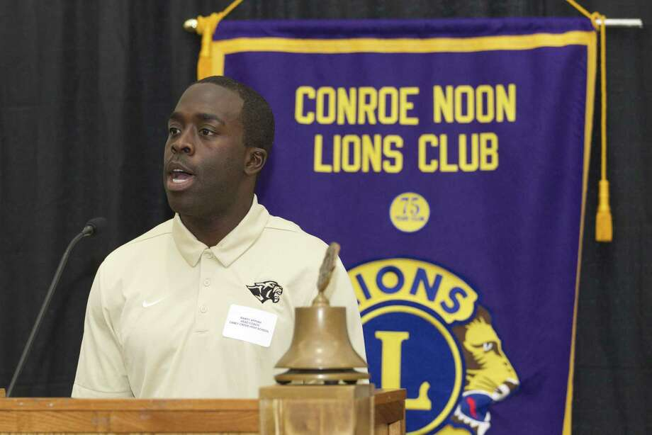 Caney Creek head coach Randy Appiah speaks during the Conroe Noon Lions Club's annual Roundball Roundup with area boys basketball coaches at the Lone Star Convention & Expo Center, Wednesday, Nov. 28 2018, in Conroe. Photo: Jason Fochtman, Houston Chronicle / Staff Photographer / © 2018 Houston Chronicle