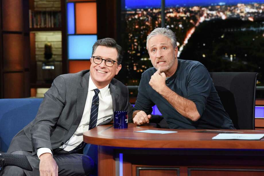 Jon Stewart asks Stephen Colbert how he found his \'Late Show\' voice ...