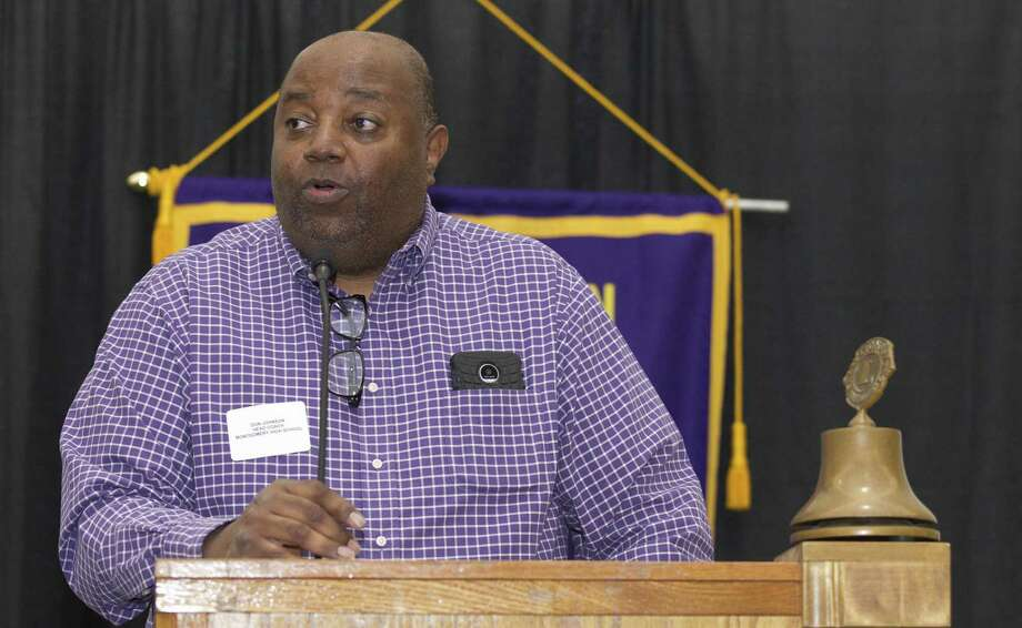 Montgomery head coach Don Johnson speaks during the Conroe Noon Lions Club's annual Roundball Roundup with area boys basketball coaches at the Lone Star Convention & Expo Center, Wednesday, Nov. 28 2018, in Conroe. Photo: Jason Fochtman, Houston Chronicle / Staff Photographer / © 2018 Houston Chronicle