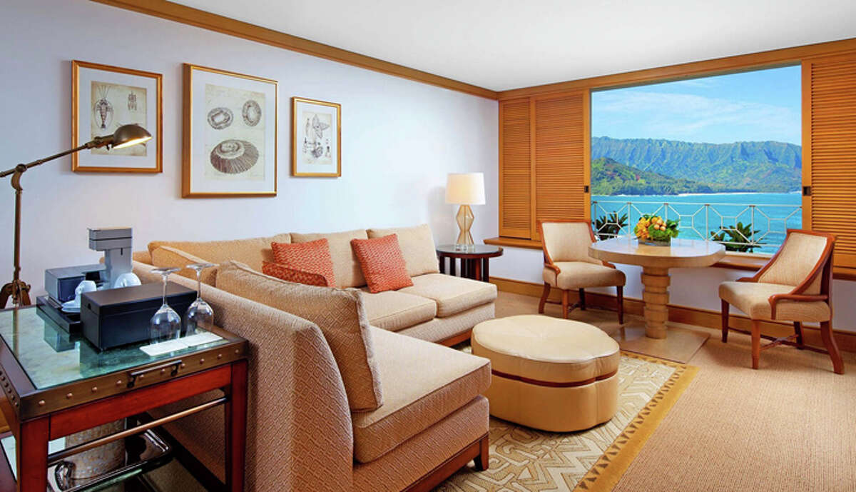 A junior suite at the Princeville Resort, formerly the St. Regis.