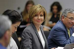 City Manager Sheryl Sculley,C,listens during meeting. The council's Governance Committee meets Wednesday to discuss settting metrics for the city manager on Wednesday, February 28, 2018 at City Hall Briefing Room.