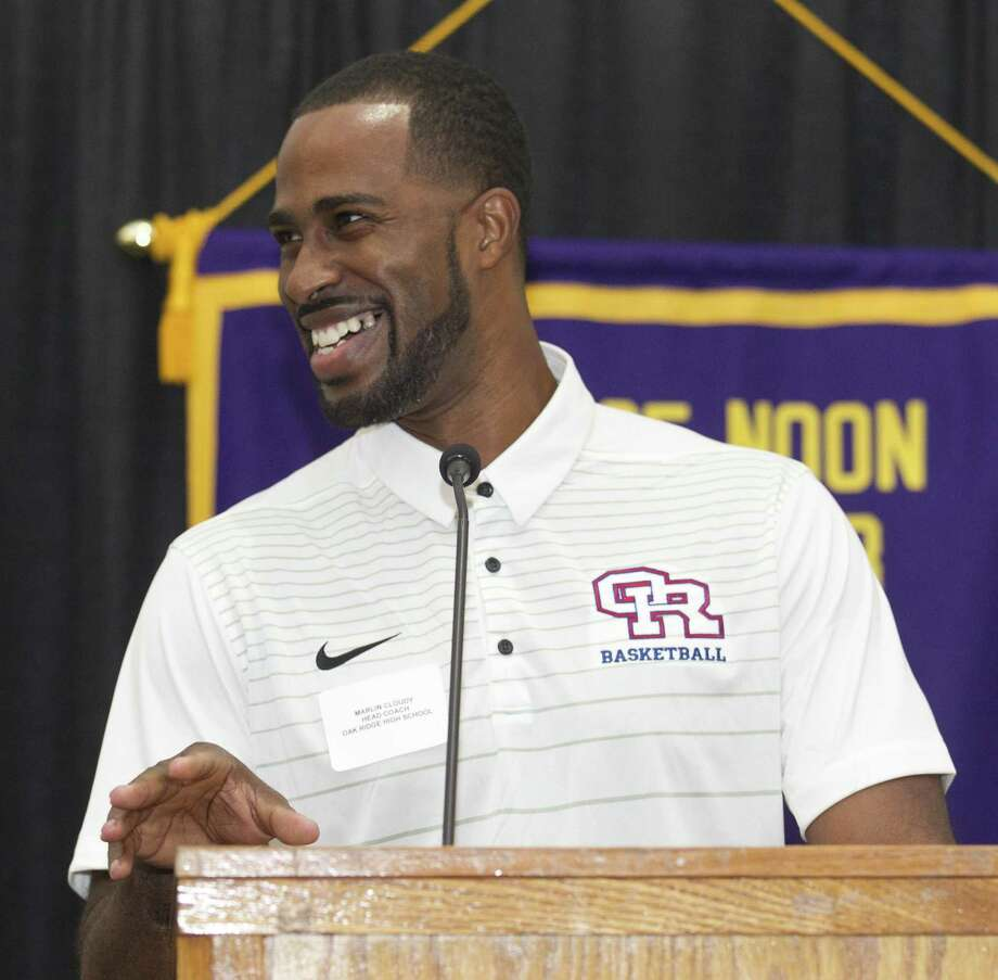 Oak Ridge head coach Marlin Cloudy speaks during the Conroe Noon Lions Club's annual Roundball Roundup with area boys basketball coaches at the Lone Star Convention & Expo Center, Wednesday, Nov. 28 2018, in Conroe. Photo: Jason Fochtman, Houston Chronicle / Staff Photographer / © 2018 Houston Chronicle