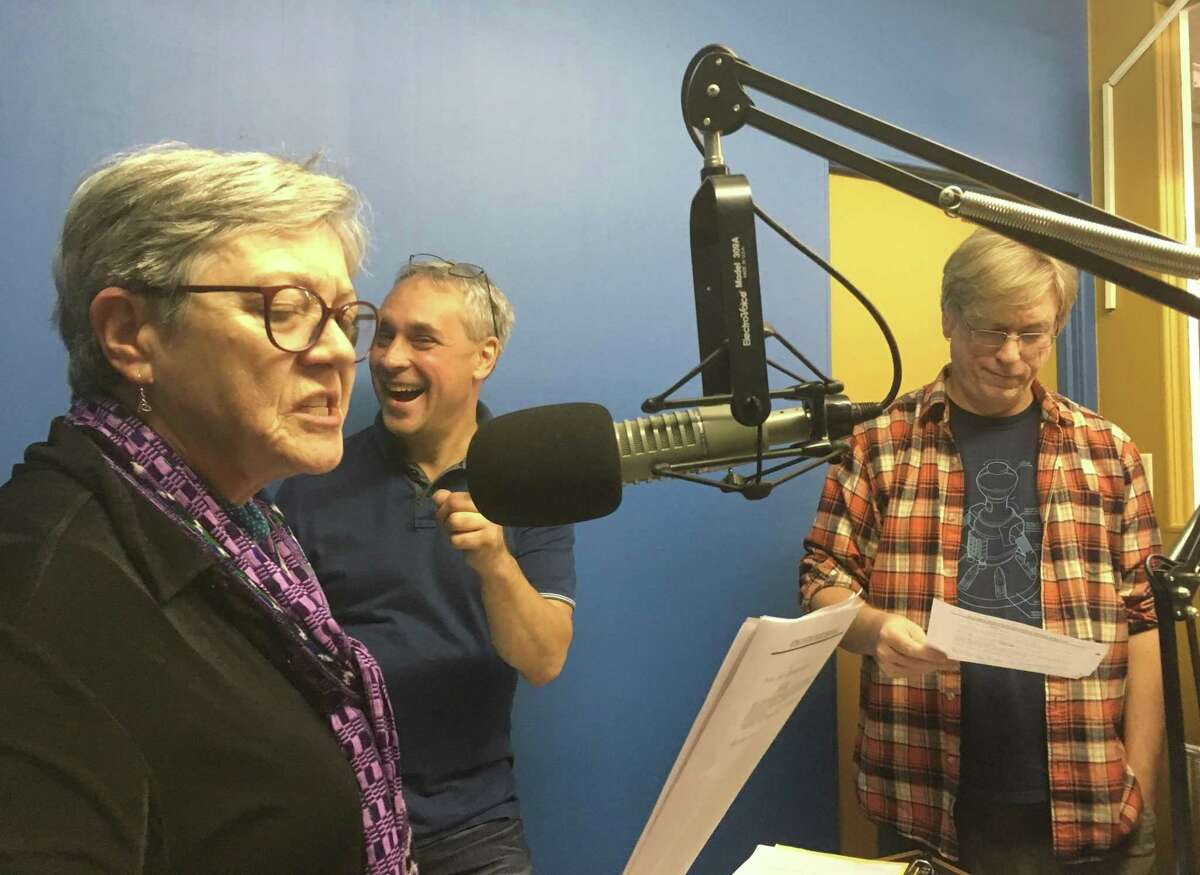 Nutmeg Junction, a new performance group, will take the stage on Sunday, Dec. 2 at SpeakEasy, the monthly spoken word event, at the Noelke Gallery in Torrington. Above, from left, Jandi Hanna, Rich Cyr and Kurt Boucher.