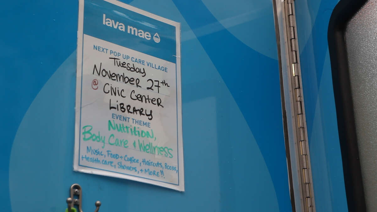 A Lava Mae mobile shower unit at a Pop-Up Care Village in San Francisco's Civic Center neighborhood on Tuesday, Nov. 27, 2018. Doneice Sandoval, the founder and CEO of the mobile showers nonprofit Lava Mae, created Pop-up Care Villages to help people struggling with homelessness in the Bay Area access critical necessities in one place.