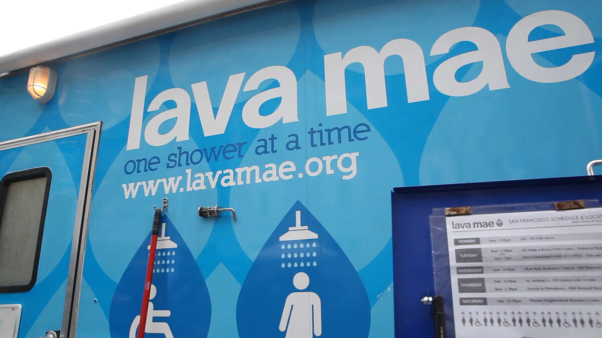 A Lava Mae mobile shower unit at a Pop-Up Care Village in San Francisco's Civic Center neighborhood on Tuesday, Nov. 27, 2018.