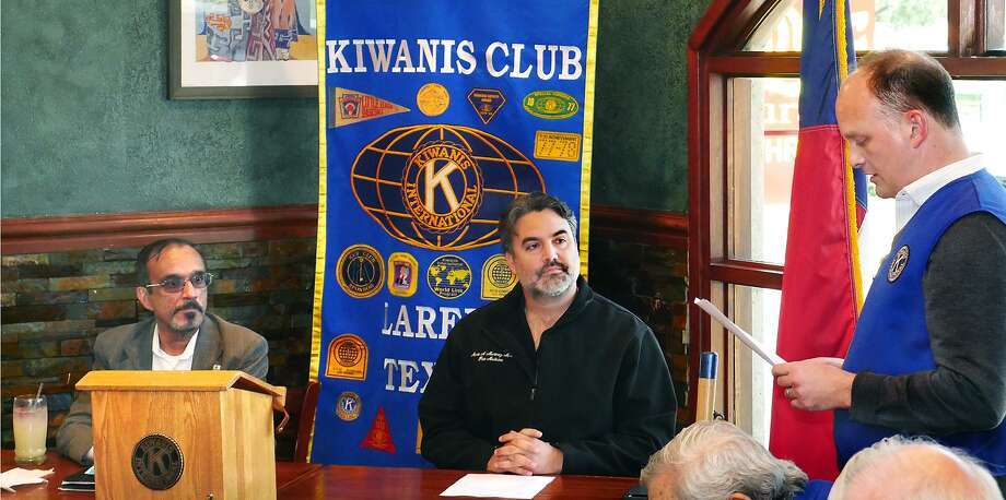 Laredo Kiwanis Club President Alan Jackson introduced L. Vish Viswanath and Dr. Marte Martinez, candidates for the City Council District 6 runoff race, at the club's meeting Tuesday at a Danny's Restaurant. Photo: Cuate Santos /Laredo Morning Times / Laredo Morning Times