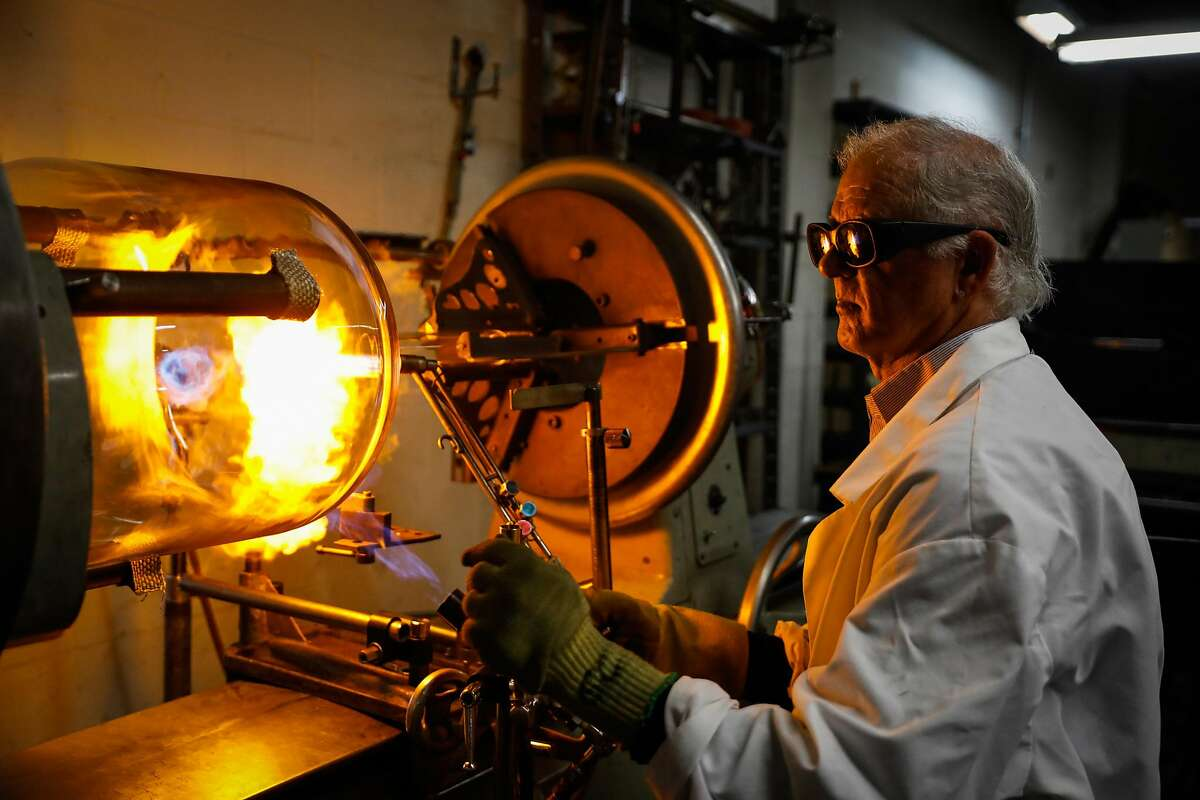 Owner George Chittenden works at Adams & Chittenden, a 25-year-old scientific glass blowing company in Berkeley, California, on Tuesday, Nov. 27, 2018.