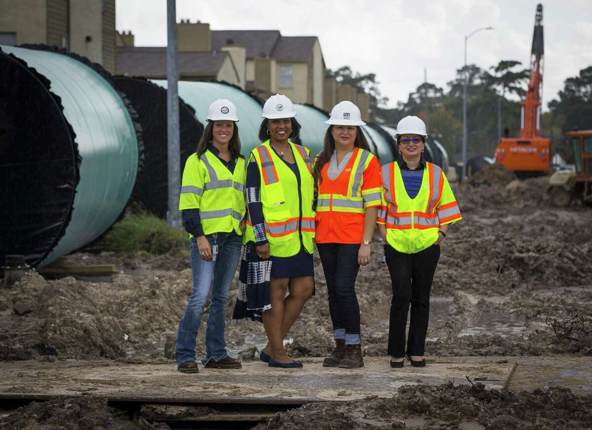 Shannon Rodriguez, Houston Water?'s drinking water operations branch managing director, (from left); Yvonne Forrest, director of Houston Water; Mackrena Ramos, program manager with the Surface Water Transmission Program; and Venus Price, the Public Works section lead are working together on Houston's largest drinking water pipeline project. The pipeline project will carry water from Lake Houston to parts of the city. >>Check out the vintage photos of Lake Houston...