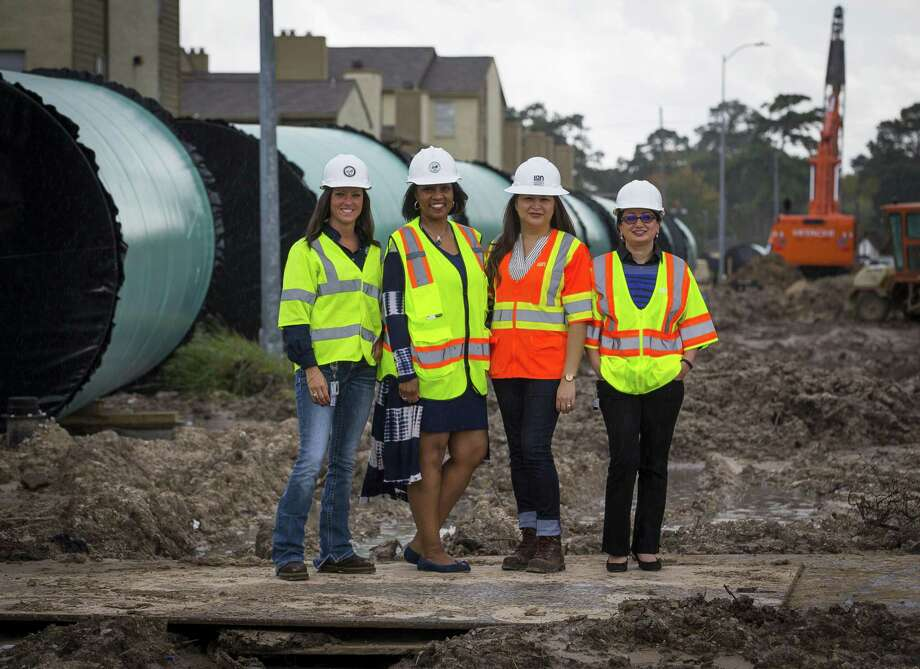 Shannon Rodriguez, Houston Water's drinking water operations branch managing director, (from left); Yvonne Forrest, director of Houston Water; Mackrena Ramos, program manager with the Surface Water Transmission Program; and Venus Price, the Public Works section lead are working together on Houston's largest drinking water pipeline project. The pipeline project will carry water from Lake Houston to parts of the city. >>Check out the vintage photos of Lake Houston...  Photo: Mark Mulligan, Houston Chronicle / Staff Photographer / © 2018 Mark Mulligan / Houston Chronicle
