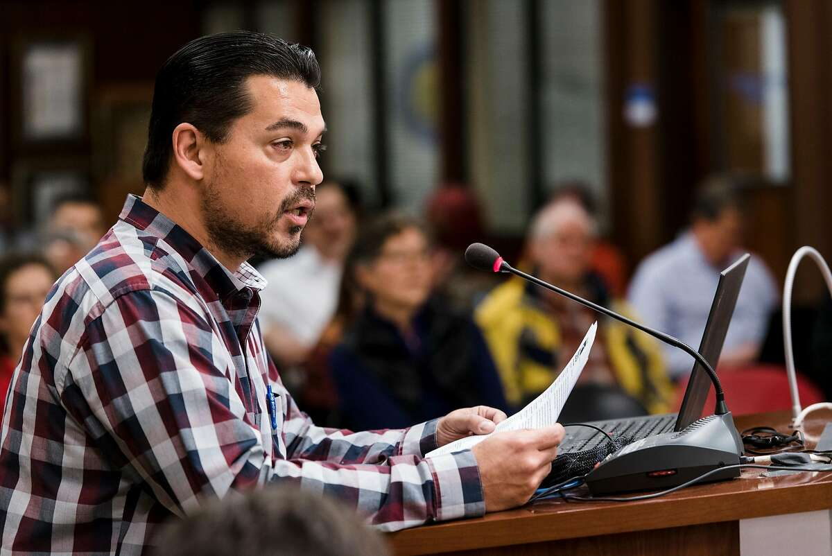 Peralta Chapter President of SEIU 1021 Richard Thoele speaks in support of Nicky Gonz�lez Yuen during a Peralta Community College District board meeting in Oakland, California, on Tuesday, November 27, 2018, where the Peralta Board of Trustees considered whether to censure Trustee Yuen because he has spoken publicly, against board policy, about problems in the district.