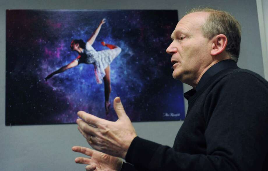 Photographer Alex Rosenfeld talks about his exhibition, Body of Work, Tuesday, November 27, 2018, in the Mayor's Gallery at City Hall in Norwalk, Conn. The work is based on an artistic collaboration earlier this year between Norwalk Poet Laureate Laurel Peterson and Choreographer Steph Kunkel. The exhibition will open with a reception November 29th at 5:30pm. Photo: Erik Trautmann / Hearst Connecticut Media / Norwalk Hour