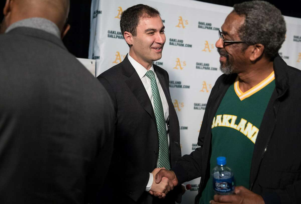 A's President Dave Kava (left) and Alameda County District 4 Supervisor Nate Miley chat following a press conference held at the A's corporate offices in Oakland, Calif. Wednesday, Nov. 28, 2018 announcing early plans to build a new ballpark at Howard Terminal