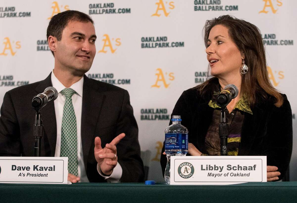 A's President Dave Kaval (left) and Oakland Mayor Libby Schaaf take questions during a press conference held at the A's corporate offices in Oakland, Calif. Wednesday, Nov. 28, 2018 announcing early plans to build a new ballpark at Howard Terminal.