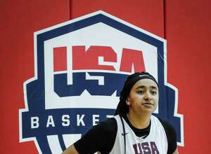 Haley Jones of Santa Cruz, Calif. participates in tryouts for the 2018 USA Basketball Women's U17 World Cup Team at the United States Olympic Training Center in Colorado Springs, Colorado. On Wednesday, Jones, the No. 1 ranked recruit in America, chose Stanford over UConn.