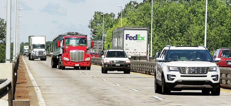 In this 2016 file photo, traffic passes over the narrow, shoulder-less, Interstate 270 River Bridge in Mitchell. Photo: John Badman | The Telegraph
