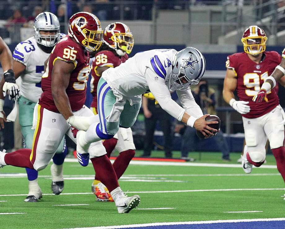 Dallas Cowboys quarterback Dak Prescott dives into the end zone against the Washington Redskins at AT&T Stadium on Nov. 22. Photo: Richard Rodriguez /Getty Images / 2018 Getty Images