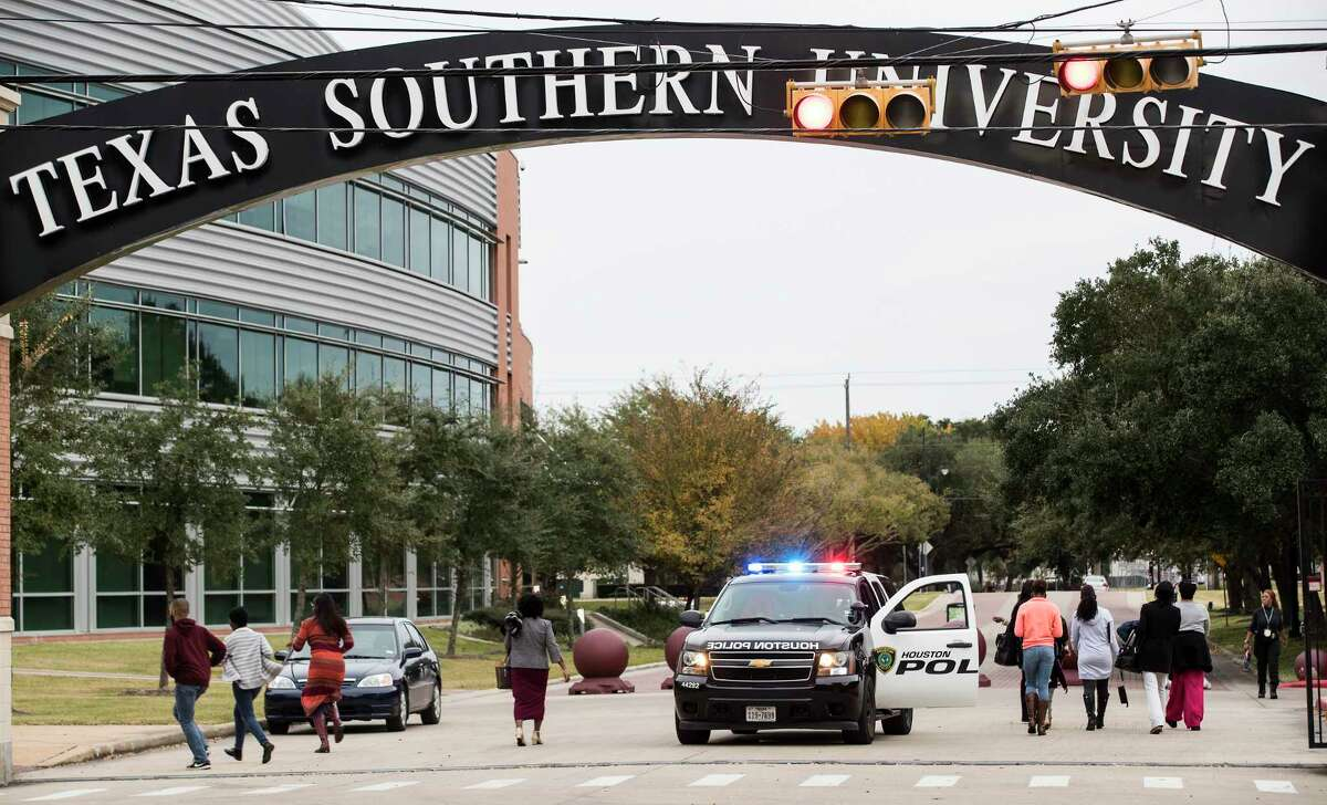 People are given the all clear and let back onto the Texas Southern campus on Wednesday, Nov. 28, 2018, in Houston. The TSU campus was evacuated Wednesday afternoon due to a bomb threat was made to the school.