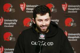 Cleveland Browns quarterback Baker Mayfield speaks to reporters during a news conference following an NFL football game against the Cincinnati Bengals, Sunday, Nov. 25, 2018, in Cincinnati. (AP Photo/Frank Victores)