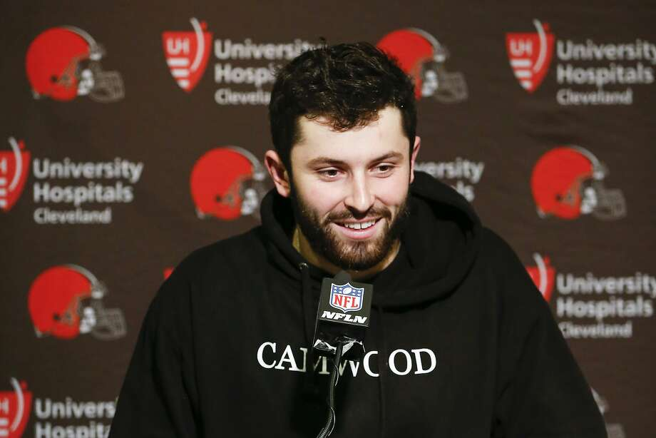Cleveland Browns quarterback Baker Mayfield speaks to reporters during a news conference following an NFL football game against the Cincinnati Bengals, Sunday, Nov. 25, 2018, in Cincinnati. (AP Photo/Frank Victores) Photo: Frank Victores / Associated Press