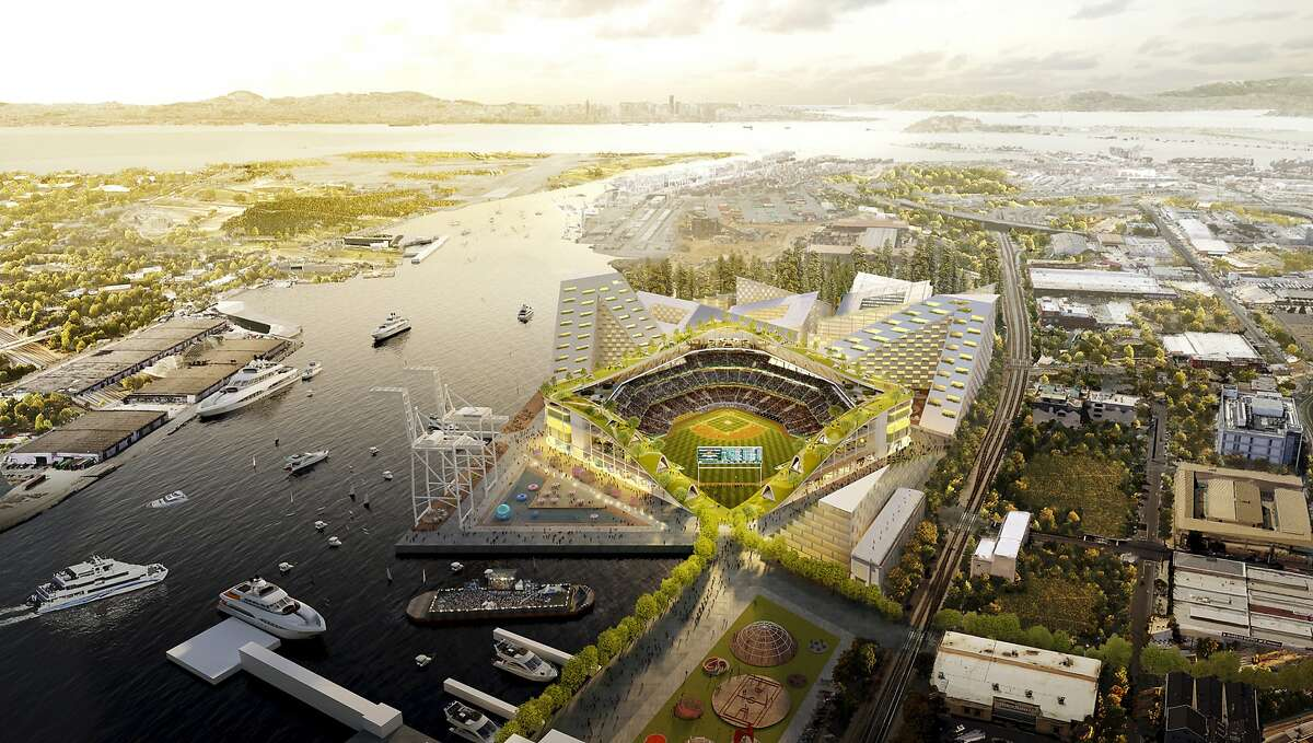 This rendering released Wednesday, Nov. 28, 2018, by the Oakland Athletics shows an elevated view of the baseball club's proposed new at Howard Terminal in Oakland, Calif.