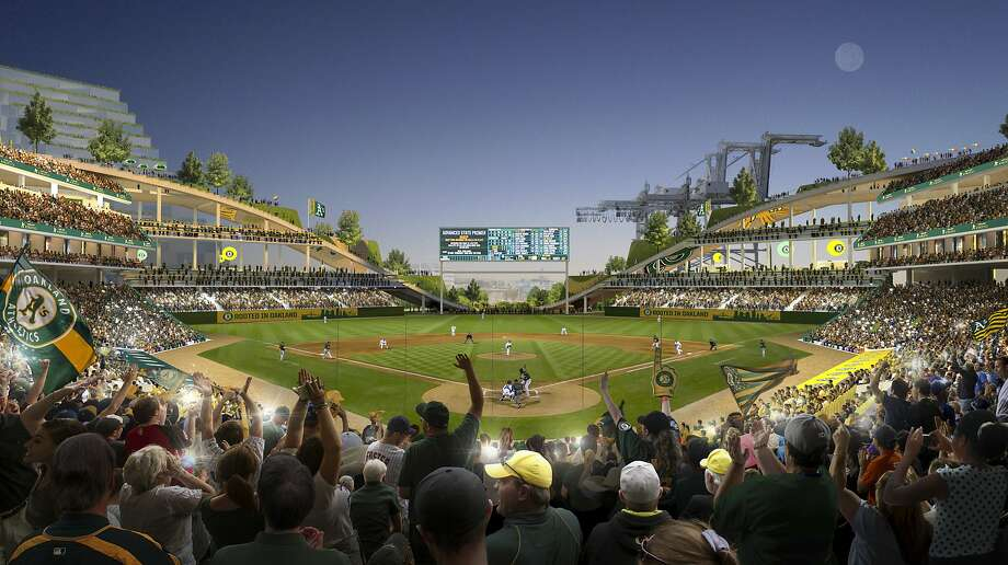 This rendering released Wednesday, Nov. 28, 2018, by the Oakland Athletics shows an interior view of the baseball club's proposed new ballpark at Howard Terminal in Oakland, Calif. (Courtesy of BIG - Bjarke Ingels Group/Oakland Athletics via AP) Photo: BIG -Bjarke Ingels Group, Associated Press