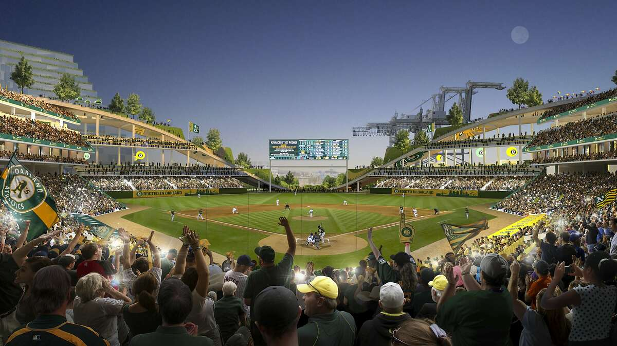 This rendering released Wednesday, Nov. 28, 2018, by the Oakland Athletics shows an interior view of the baseball club's proposed new ballpark at Howard Terminal in Oakland, Calif. (Courtesy of BIG - Bjarke Ingels Group/Oakland Athletics via AP)