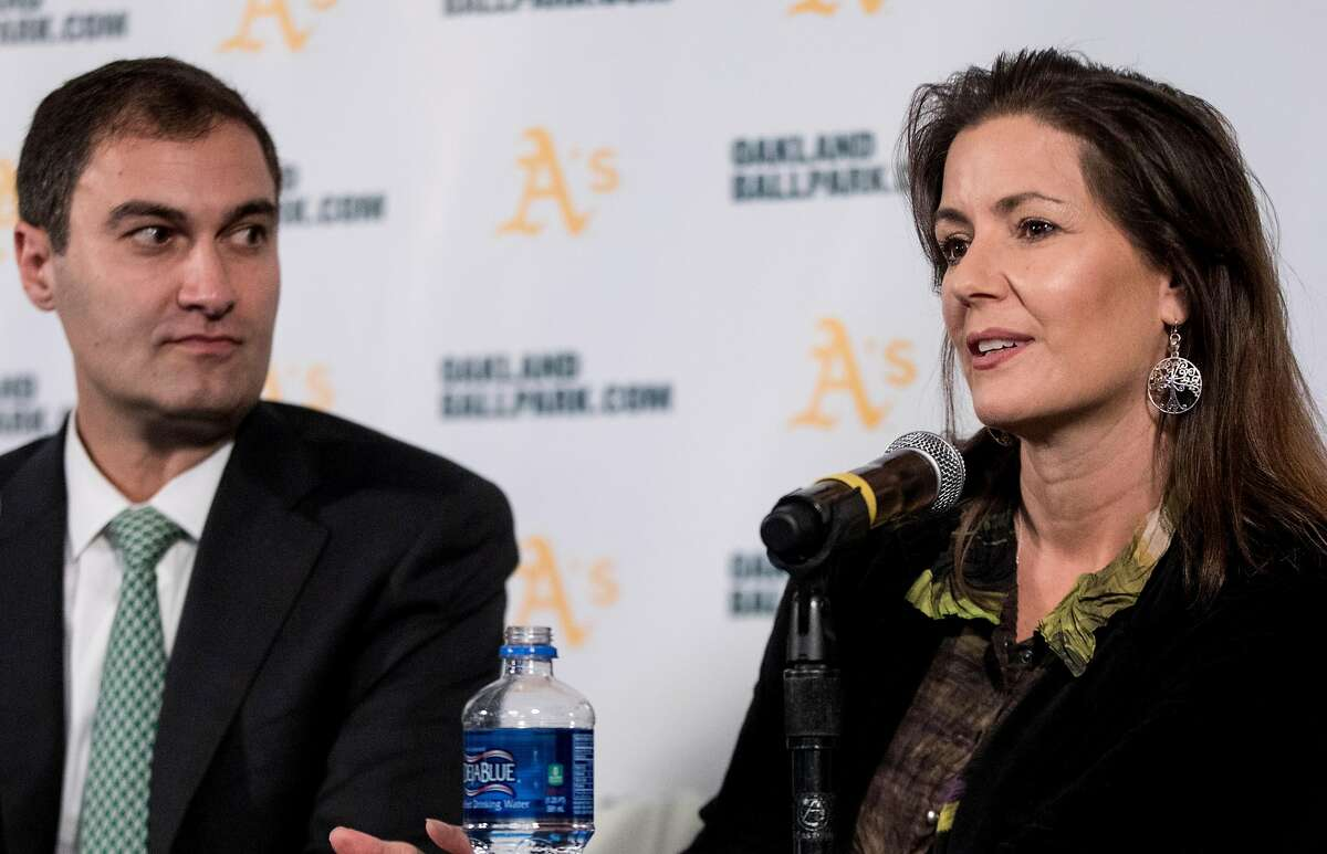 Oakland Mayor Libby Schaaf (right) answers questions as A's President Dave Kaval looks on during a press conference held at the A's corporate offices in Oakland, Calif. Wednesday, Nov. 28, 2018 announcing early plans to build a new ballpark at Howard Terminal.