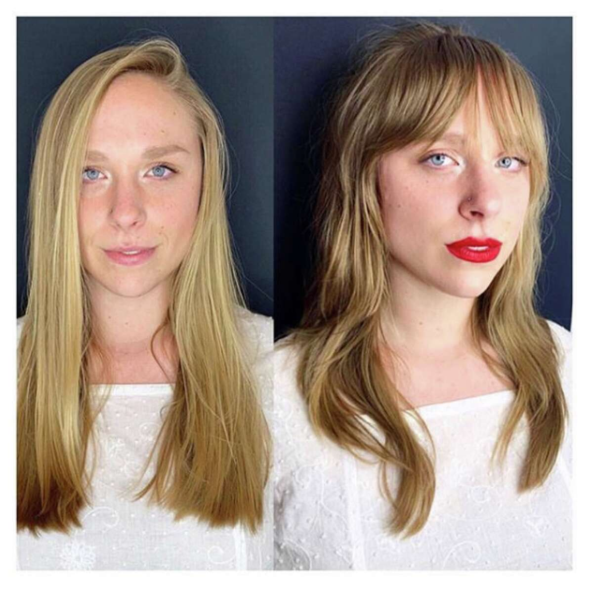 Before and after images of haircuts at Edo Salon and Gallery in San Francisco. Salon owner Jayne Matthews estimates at least 80 percent of clients find Edo from Instagram (@edosalonandgallery).