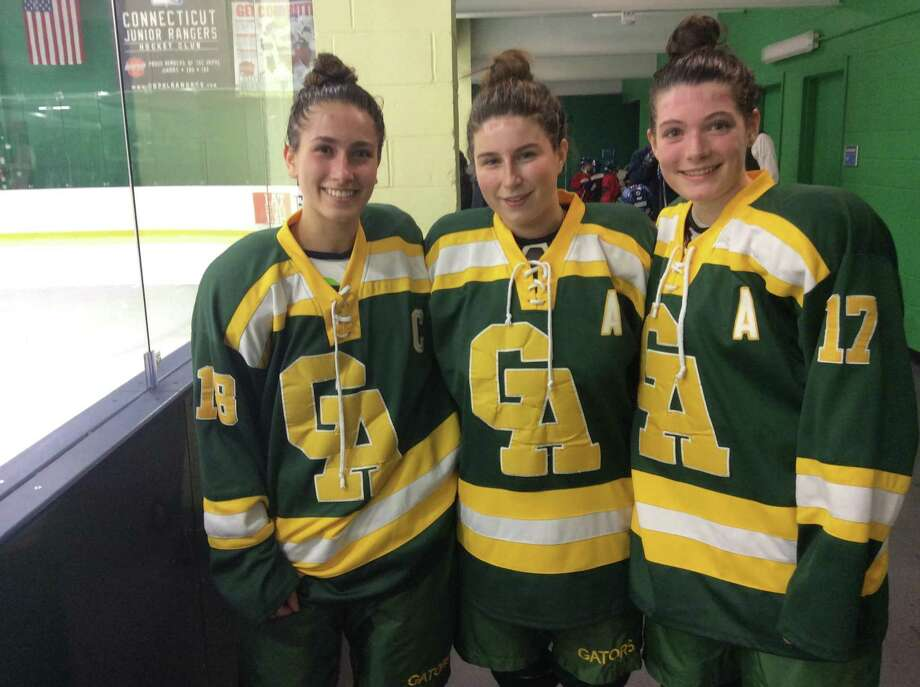 From left to right, Bobbi Roca, Grace Curran and Paige Keating are senior captains on the Greenwich Academy hockey team Photo: David Fierro / Hearst Connecticut Media / Contributed Photo / Stamford Advocate Contributed